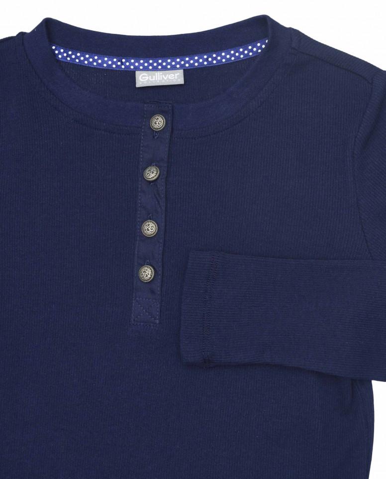Синяя трикотажная блузка