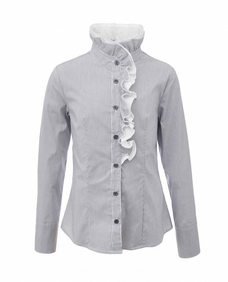 Блузка в полоску с двойным ассиметричным рюшем