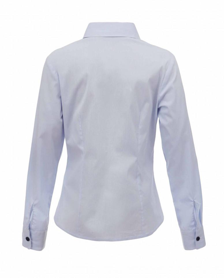 Голубая блузка с пышными рюшами