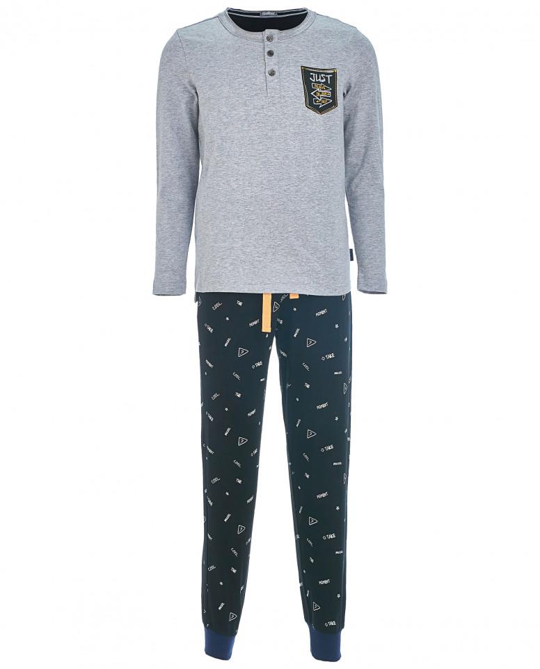 Серая с синим пижама для мальчика