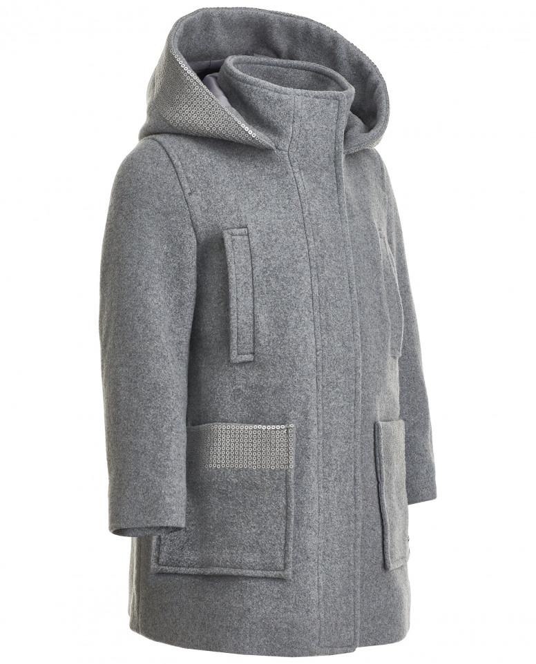 Драповое пальто с пайетками