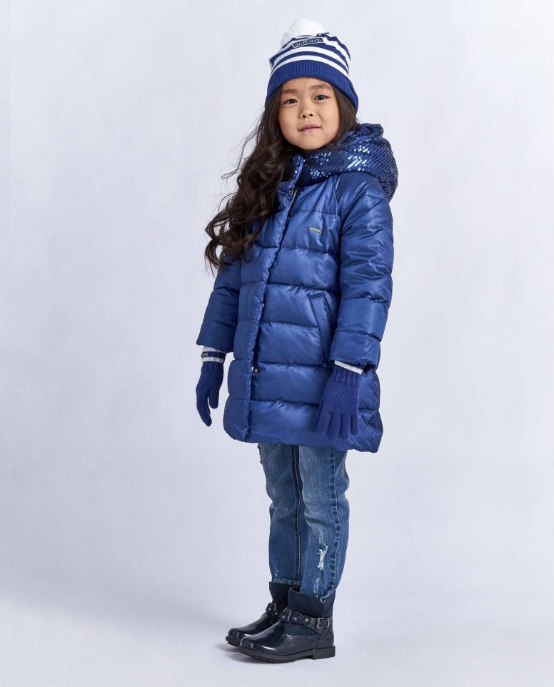 Пуховое пальто с пайетками