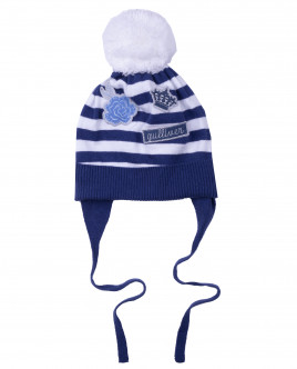 Вязаная шапка в полоску на подкладке Gulliver OUTLET