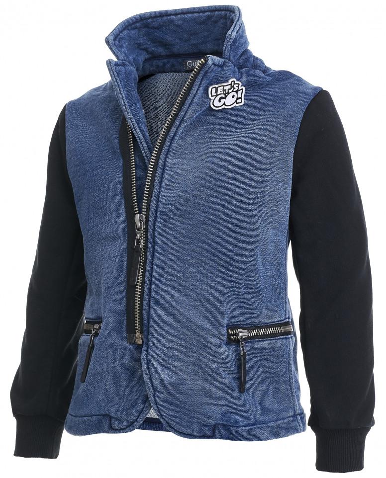 Джинсовый пиджак с рукавами из футера