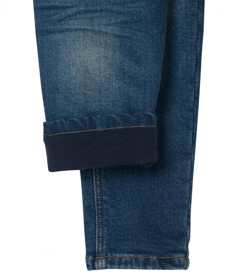 Утепленные синие джинсы