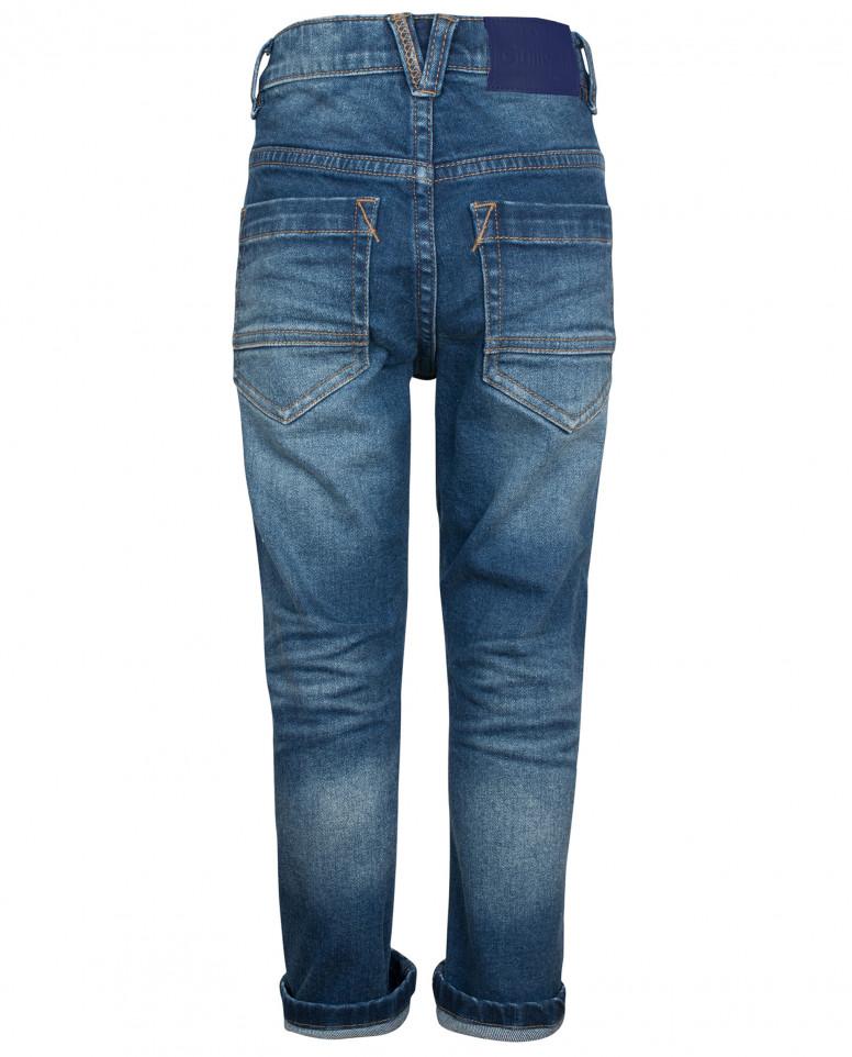 Прямые джинсы с потертостями