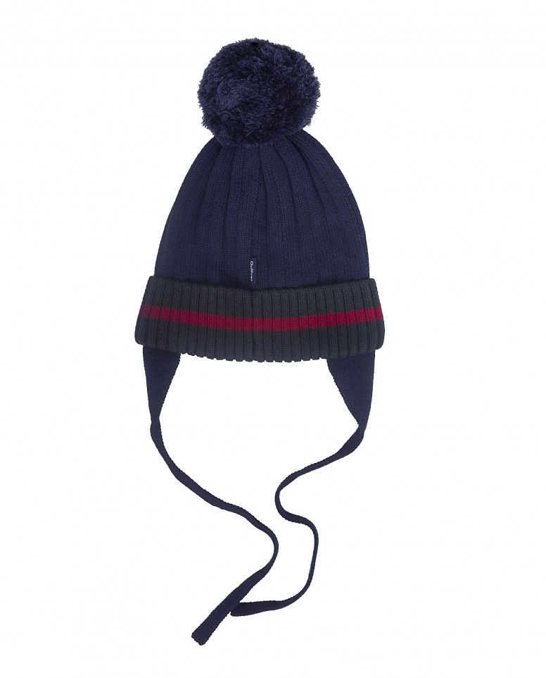 Синяя вязаная шапка на подкладке
