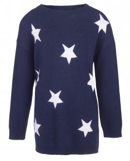 Синее вязаное платье со звездами OUTLET