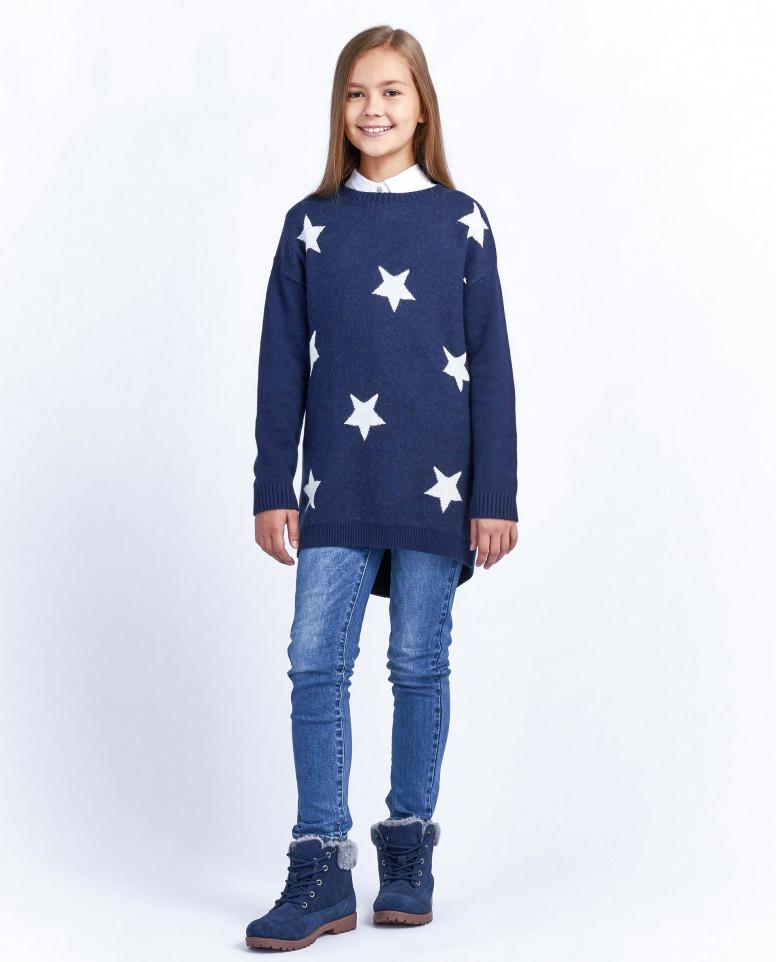 Синее вязаное платье со звездами