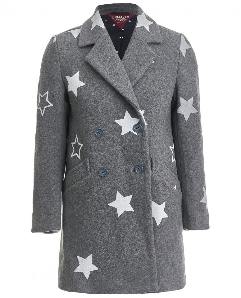 Серое драповое пальто с принтами