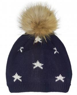 Синяя двойная вязаная шапка Gulliver OUTLET