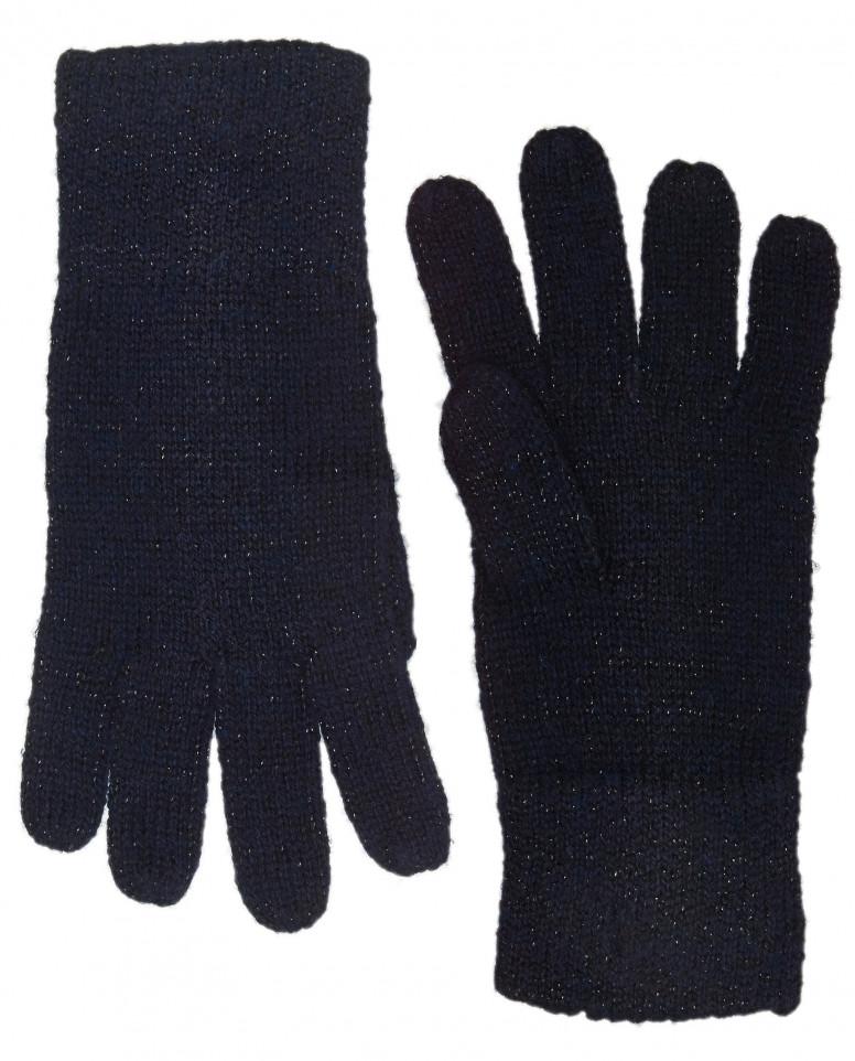 Синие вязаные перчатки с люрексом