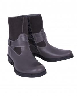 Серые кожаные ботинки OUTLET