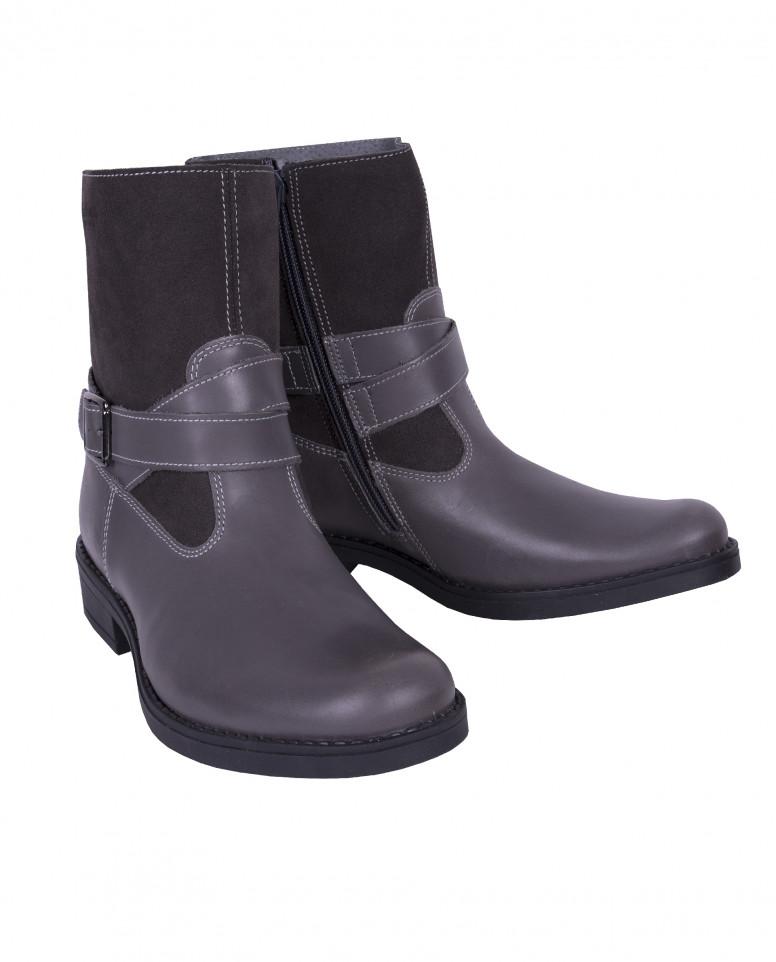 Серые кожаные ботинки Gulliver