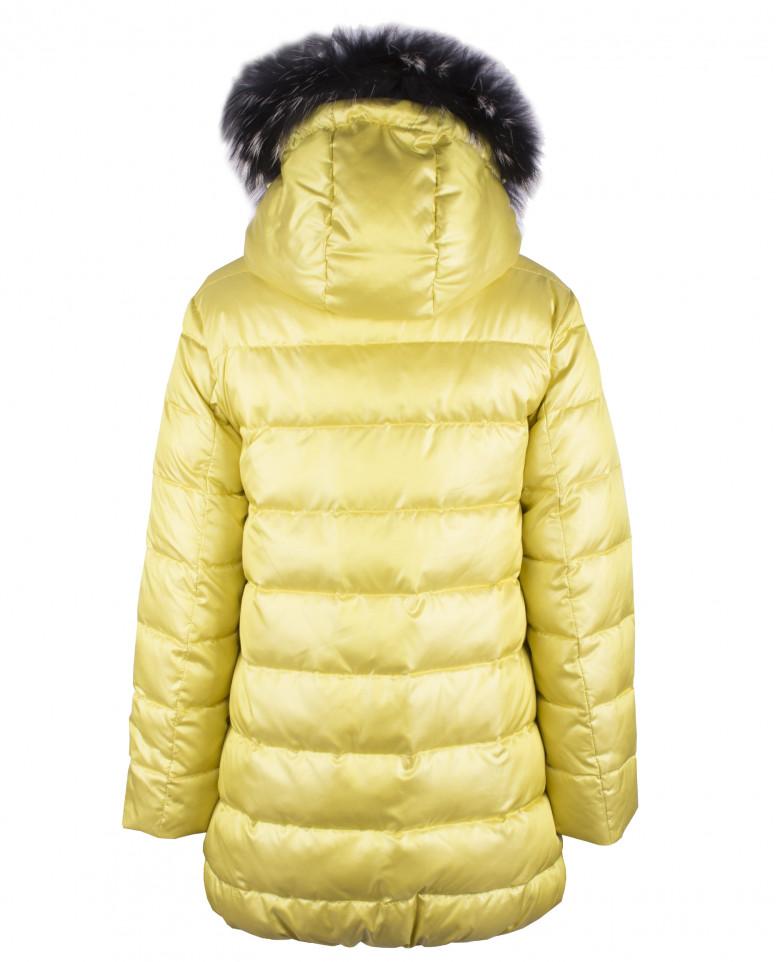 Желтое зимнее пальто