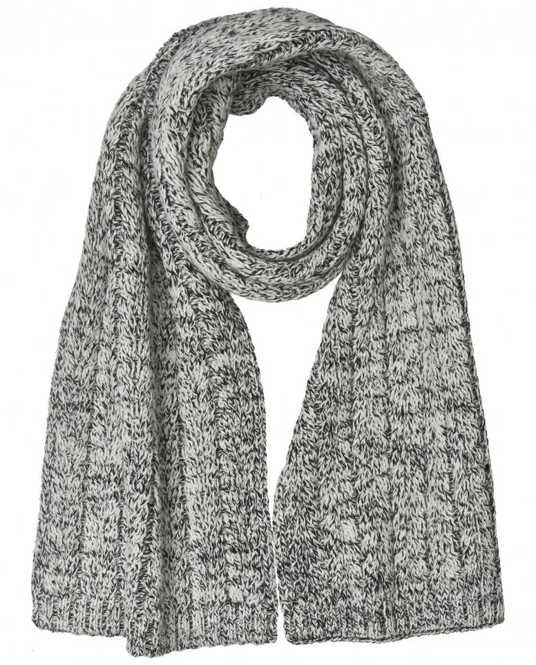 Черно-белый вязаный шарф