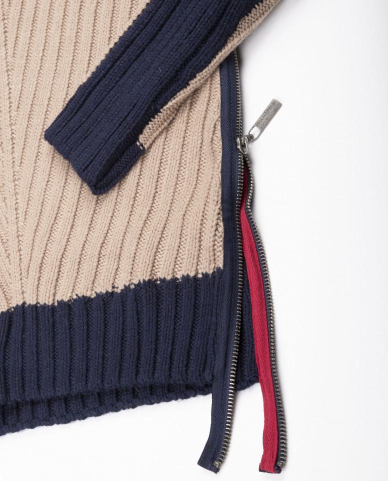 Двухцветный свитер с молнией
