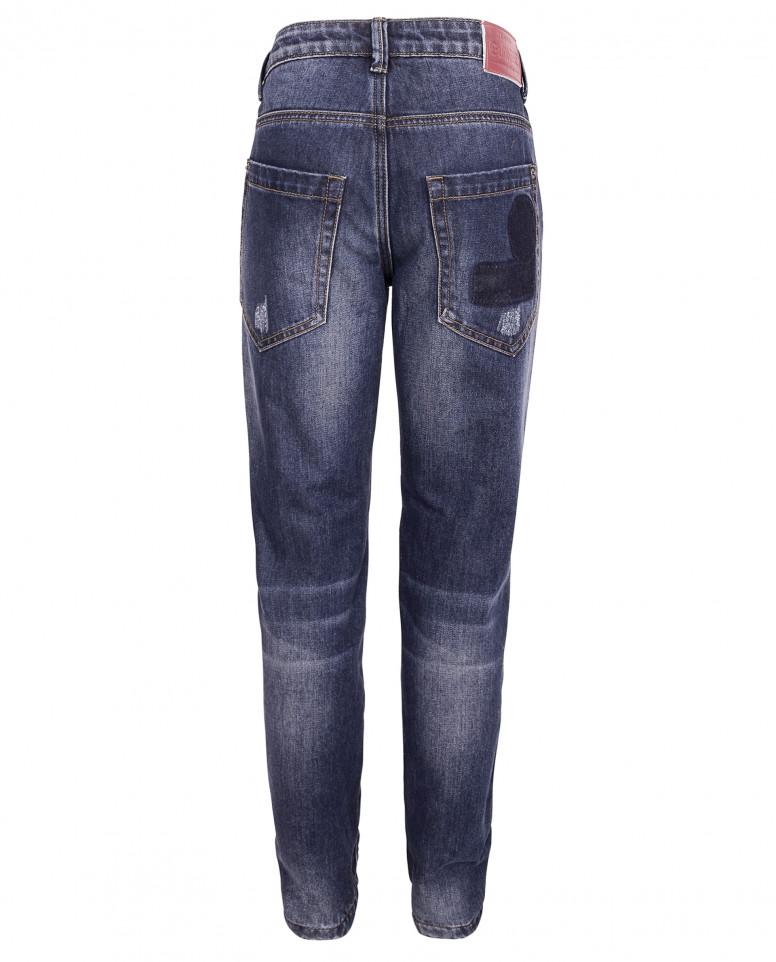 Утепленные джинсы с потертостями