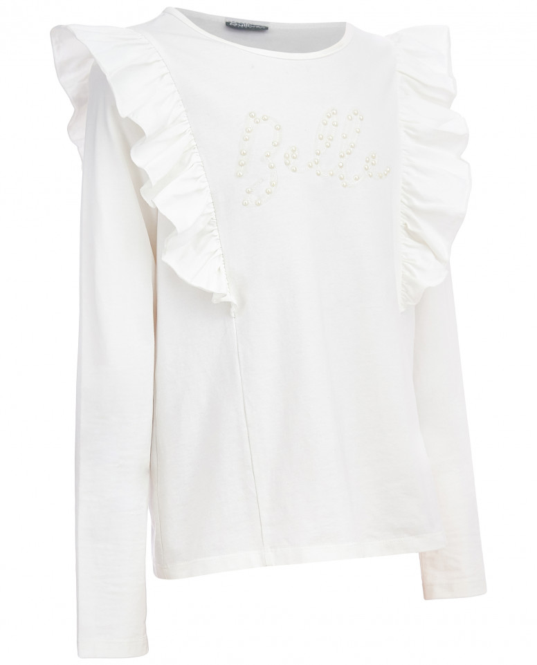 Белая футболка с жемчужным декором