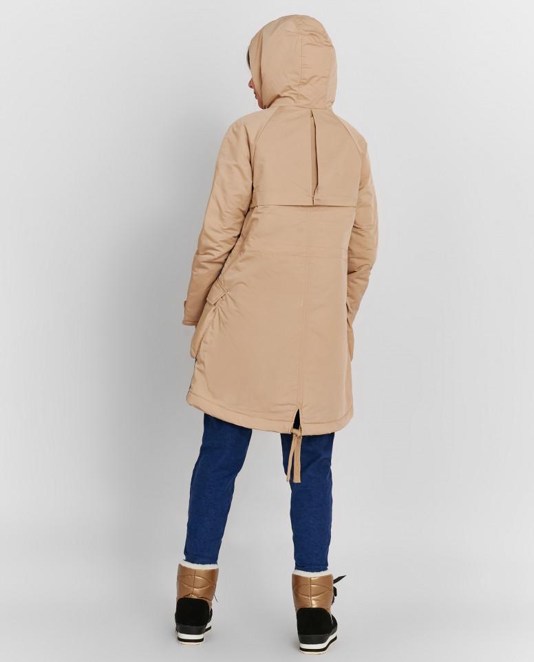 Бежевое пальто-парка