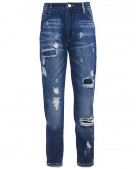 Прямые джинсы с рваной отделкой OUTLET