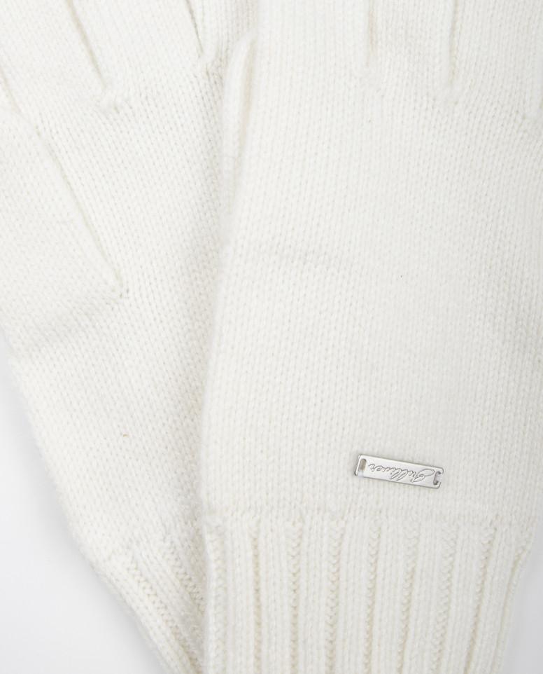 Белые вязаные перчатки