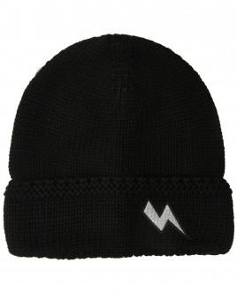 Черная вязаная шапка с нашивкой OUTLET