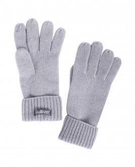 Серые вязаные перчатки с люрексом OUTLET