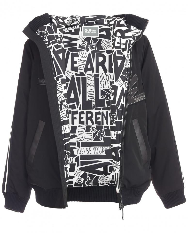Черная куртка-бомбер с декором из экокожи