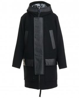 Драповое пальто с отделкой из экокожи OUTLET