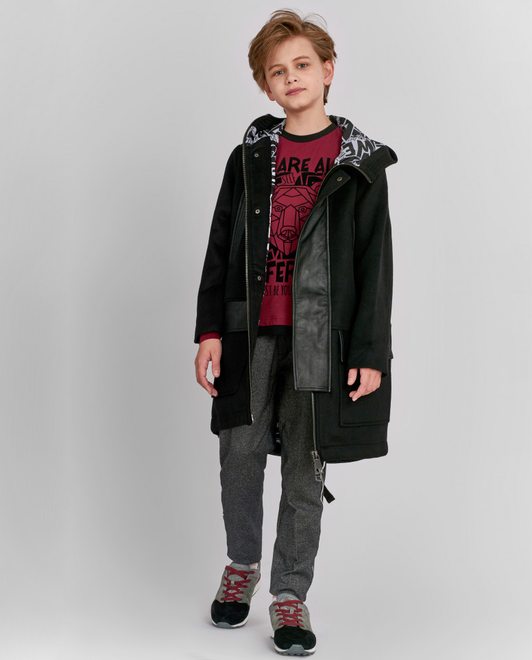 Драповое пальто с отделкой из экокожи