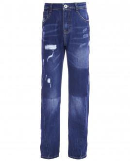 Синие джинсы с рваной отделкой OUTLET
