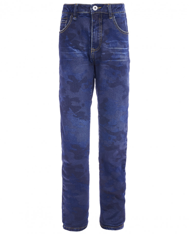 Синие прямые джинсы
