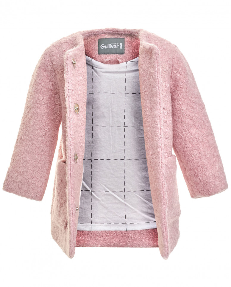 Розовое драповое пальто