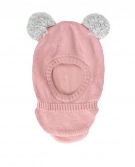 Розовый шлем с помпонами OUTLET
