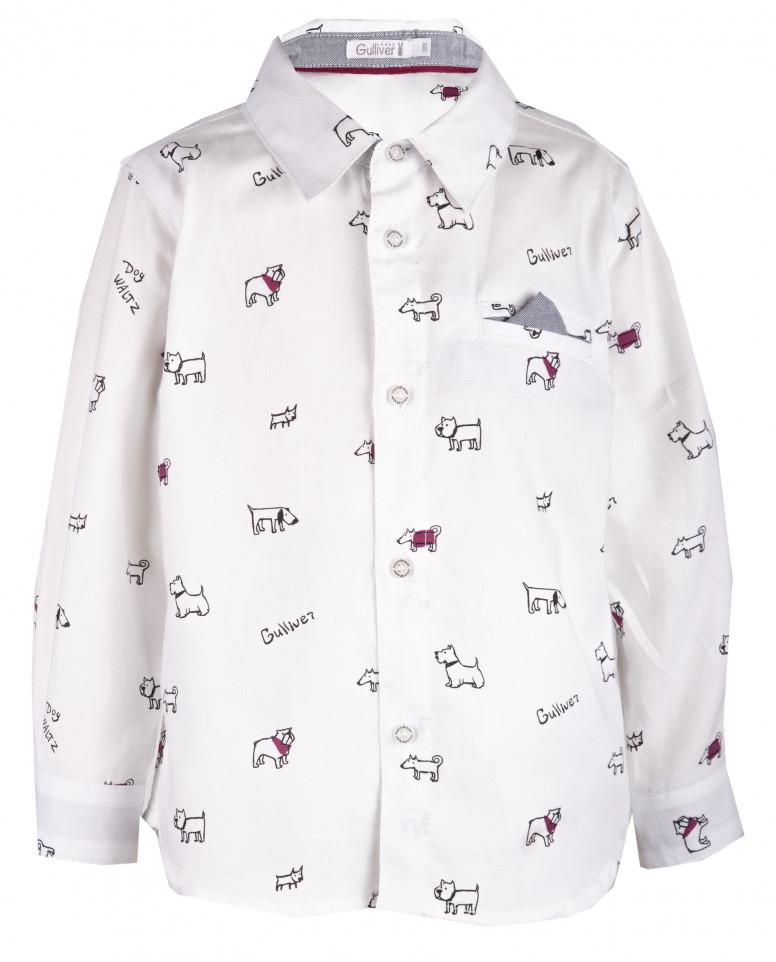 """Белая рубашка с орнаментом """"Собачки"""""""