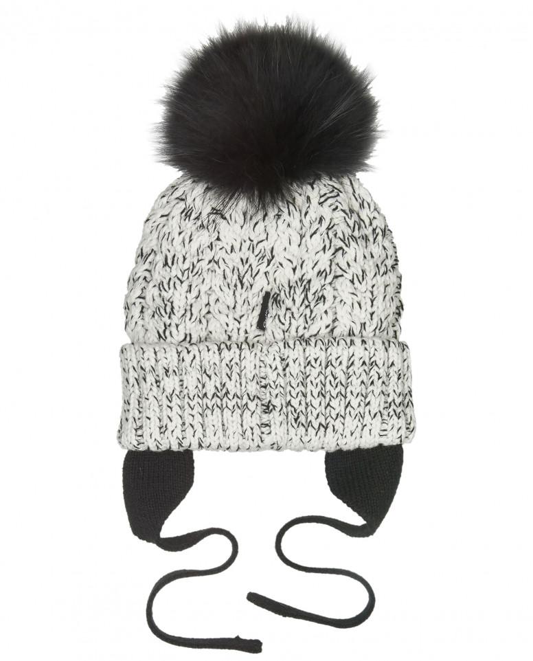 Черно-белая вязаная шапка на подкладке