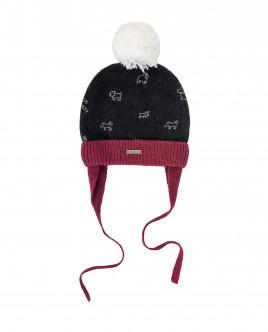 Черная вязаная шапка на подкладке OUTLET