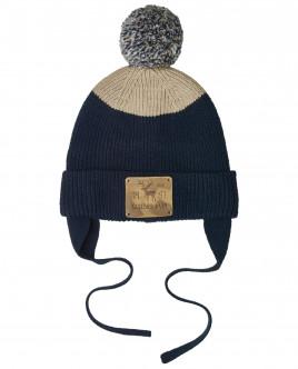 Вязаная шапка в полоску на подкладке OUTLET