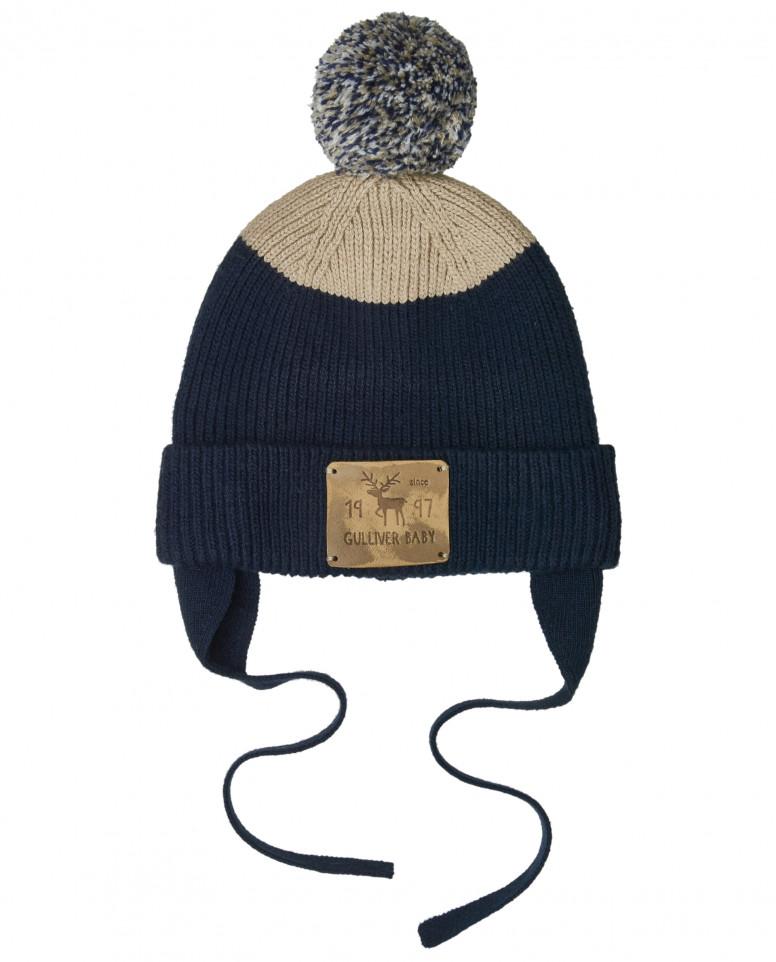 Вязаная шапка в полоску на подкладке