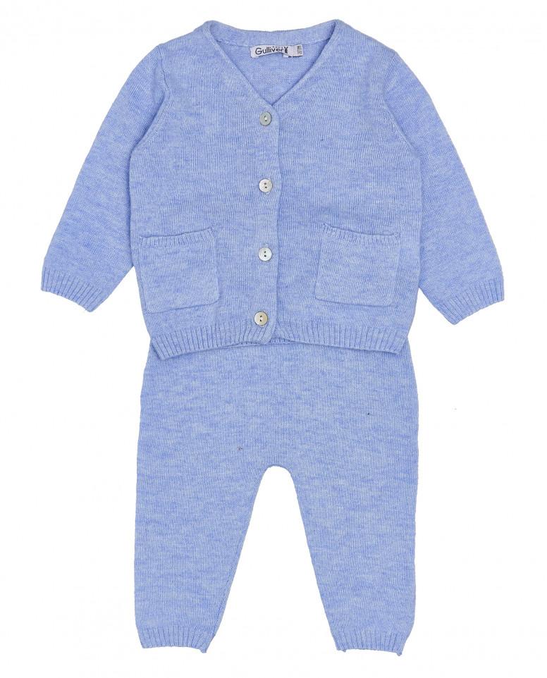 Комплект из кофты и брюк, голубой