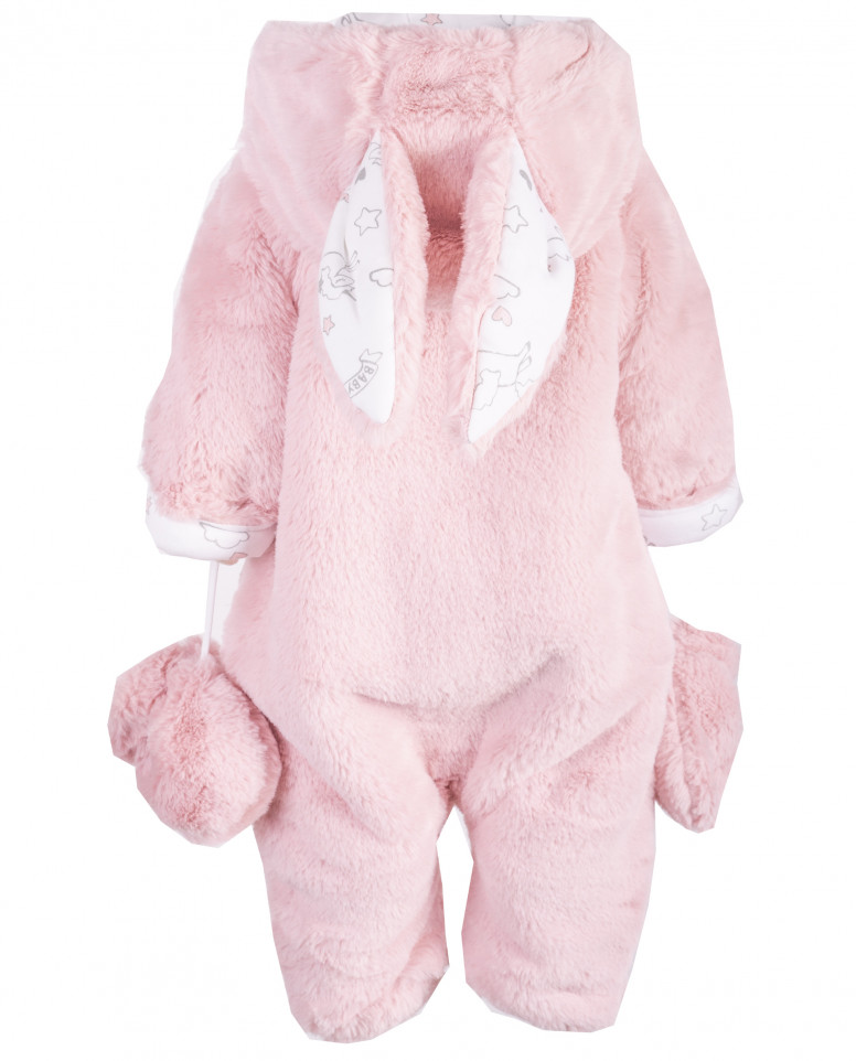 Розовый меховой комбинезон