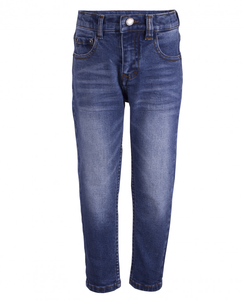 Прямые потертые джинсы