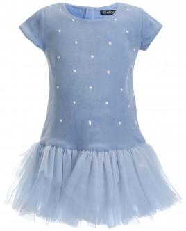 Голубое бархатное платье OUTLET