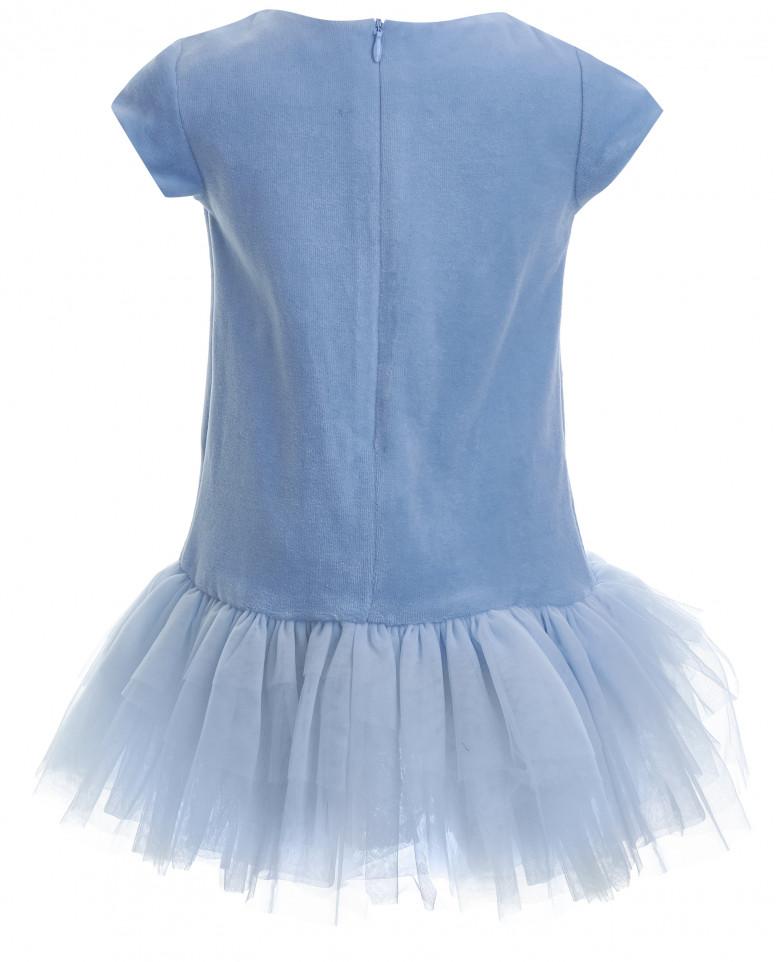 Голубое бархатное платье