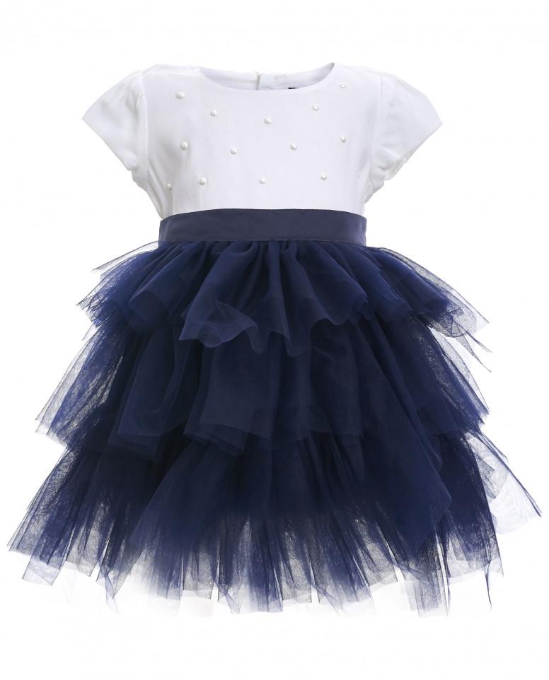 Платье с синей юбкой из сетки