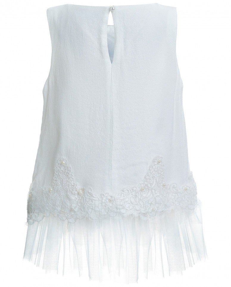 Блузка с отделкой из кружева и сетки