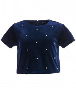 Синяя бархатная блузка OUTLET