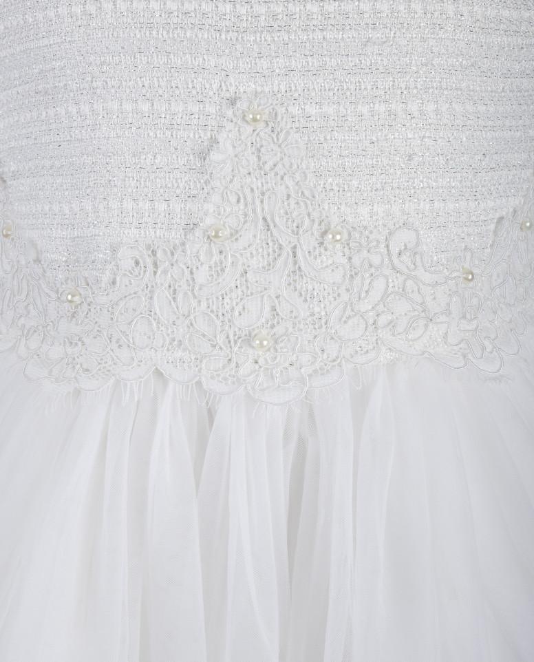 Белое платье с юбкой из сетки