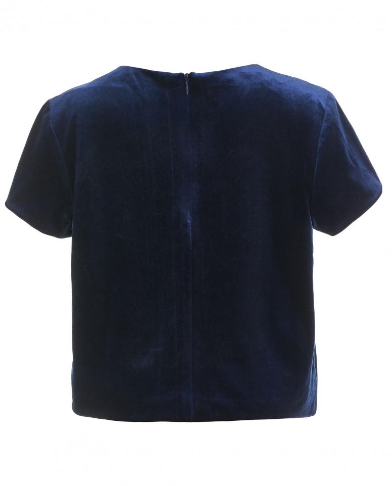 Синяя бархатная блузка